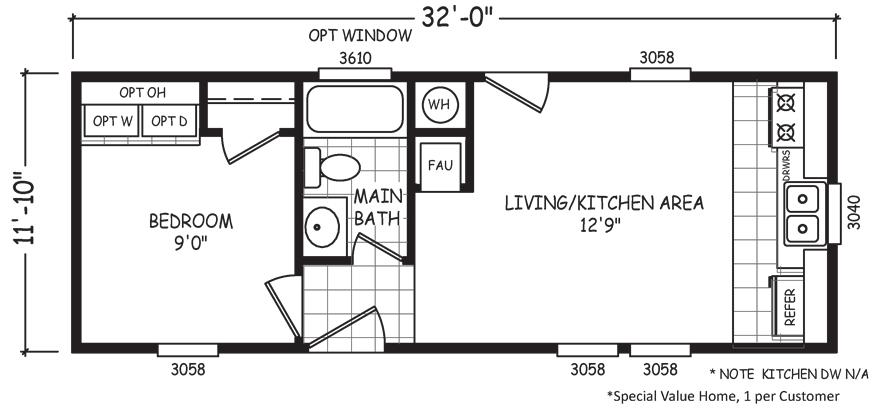 Micro 12 X 32 379 Sqft Mobile Home Factory Select Homes Mobile Home Floor Plans House Floor Plans Floor Plans