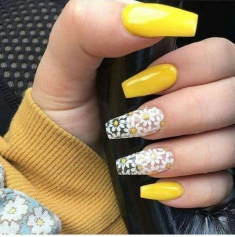 40 Trending Nail Colors This Spring 2019 Yellow Nails Coffin