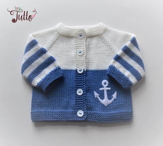 Photo of Ankerpullover Matrosenpullover Wolle Strickjacke Baby Pullover blaue und weiße …
