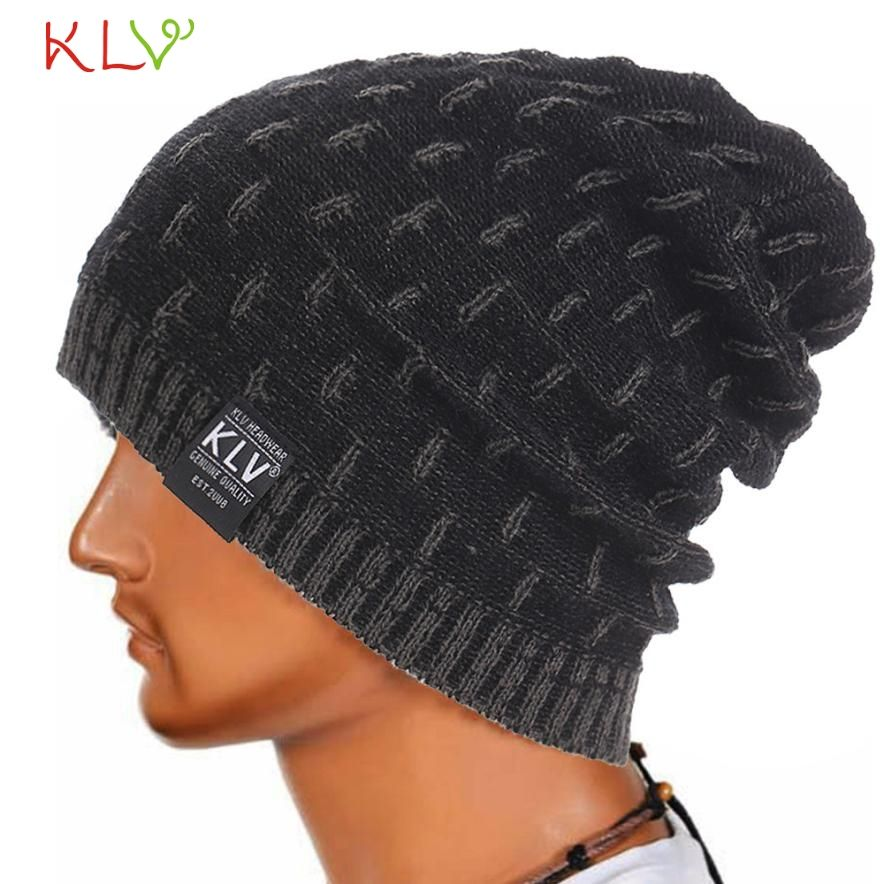1c7c6fa3b7a Click to Buy    KLV Casual Men Warm Winter Hat Knitted Beanie Skull ...