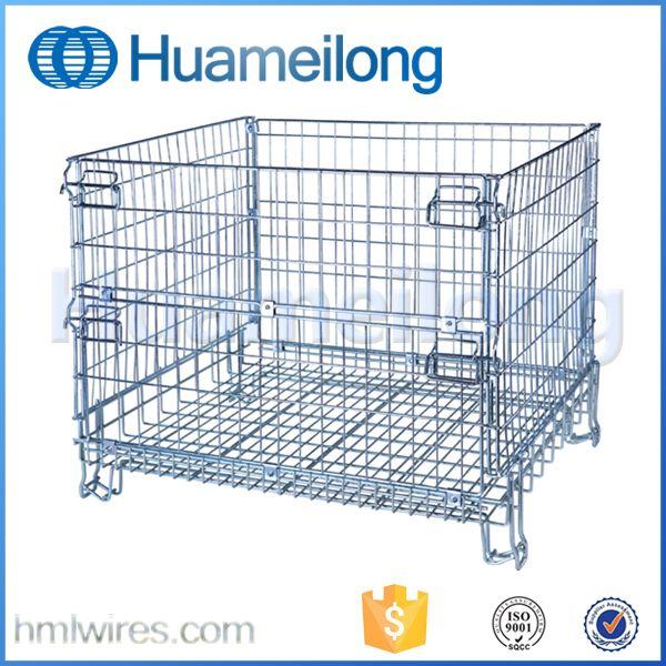 Folded Galvanized Metal Warehouse Industrial Metal Storage Bins Metal Storage Bins Stackable Storage Galvanized