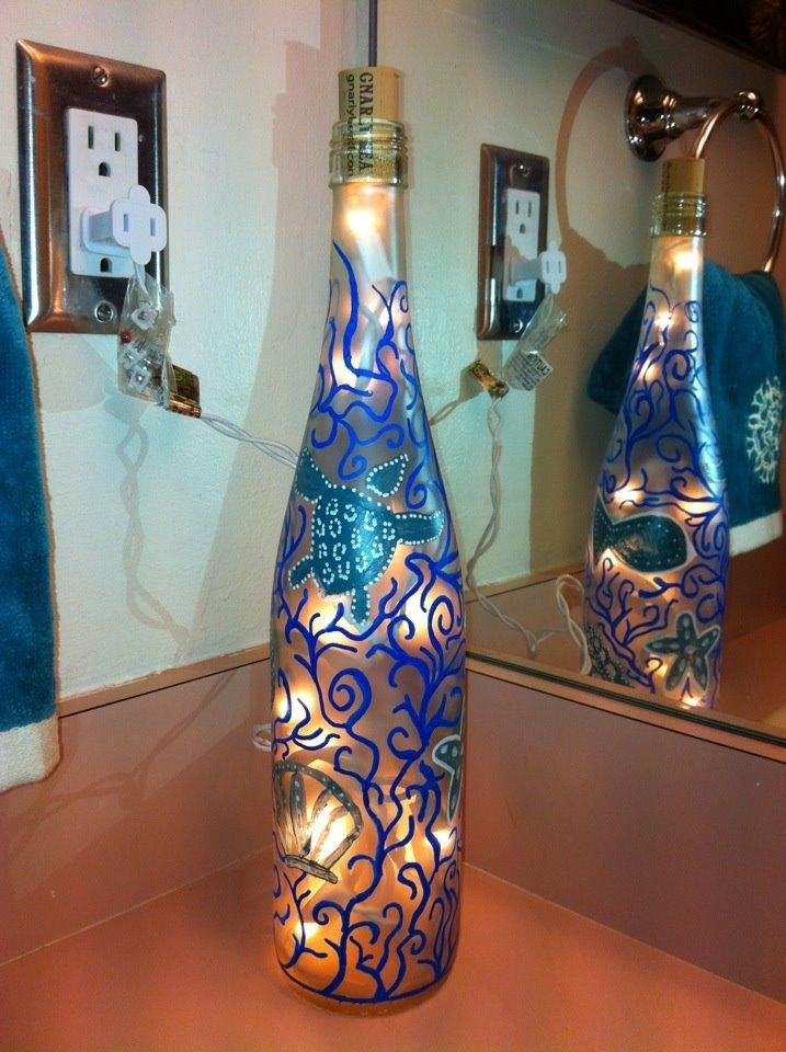 Wine bottle arts and crafts painted wine bottle with for Wine bottle arts and crafts