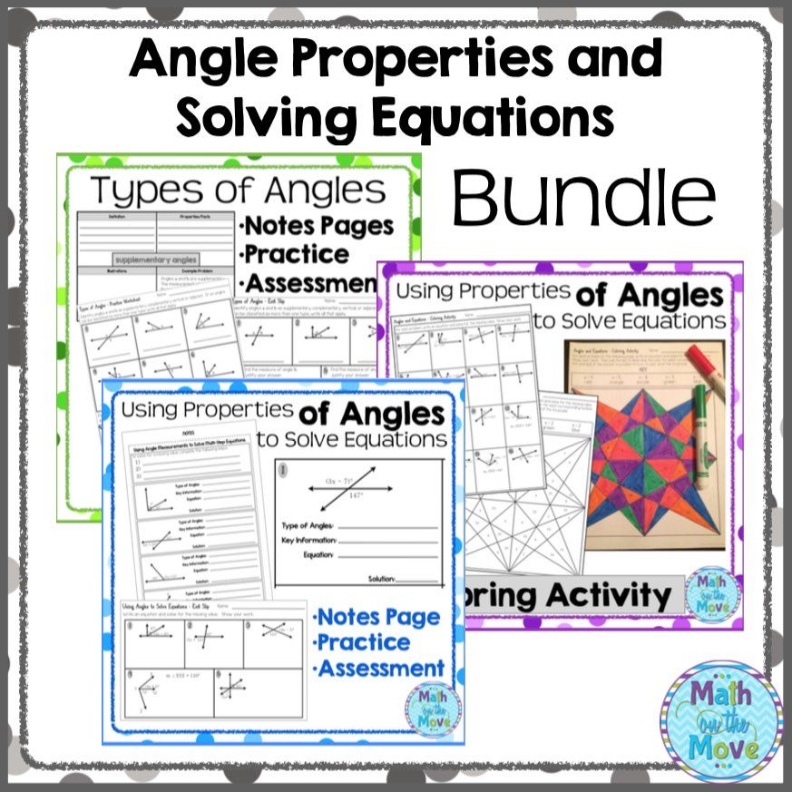 Angle Properties and Solving Equations Bundle (7.G.5