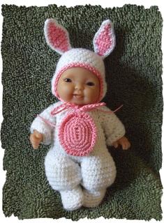 Bunny Costume for 5 inch Berenguer Baby Doll #instructionstodollpatterns