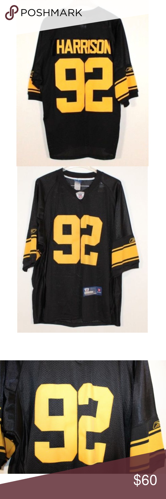 huge discount 1ee32 a4af1 Reebok] James Harrison Steelers Throwback Jersey Reebok On ...