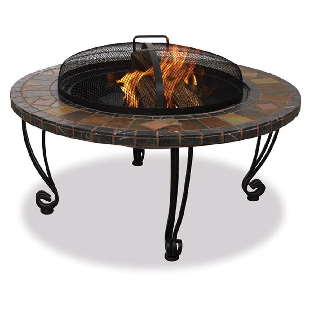 Marble And Slate 34 Inch Fire Pit With Copper Accents And Wrought