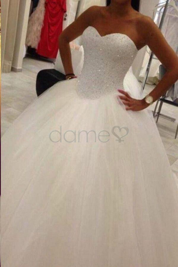 Trägerlos Herz-Ausschnitt Duchesse-Linie Rücken Schnürung Brautkleid #quinceaneraparty