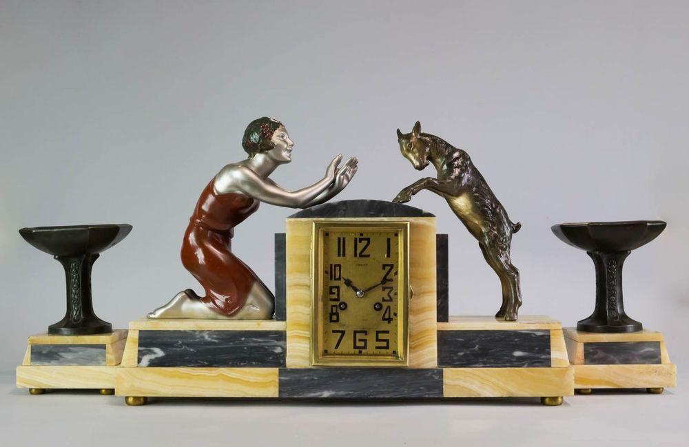 1930 Art Deco Mantel Clock Set With Sculpture Statue By P Sega Signed Artists