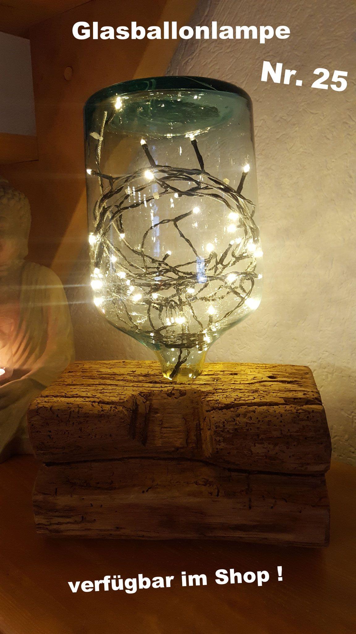 Rustikale Eichenbalken Lampe Mit Glasballon Nr 25 Und Led Lichterkette Batteriebetrieben Mit T Lichterkette Batteriebetrieben Led Lichterkette Lichterkette