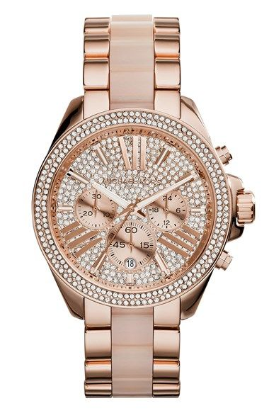 83815821b609 Free shipping and returns on MICHAEL Michael Kors Michael Kors  Wren  Pavé  Chronograph Acetate Link Bracelet Watch
