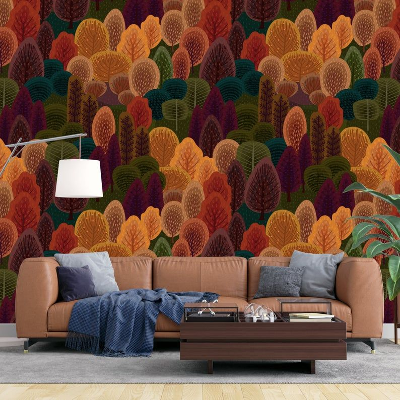 Autumn Peel And Stick Removable Wallpaper Orange Green Etsy Emerald Green Living Room Living Room Orange Living Room Green