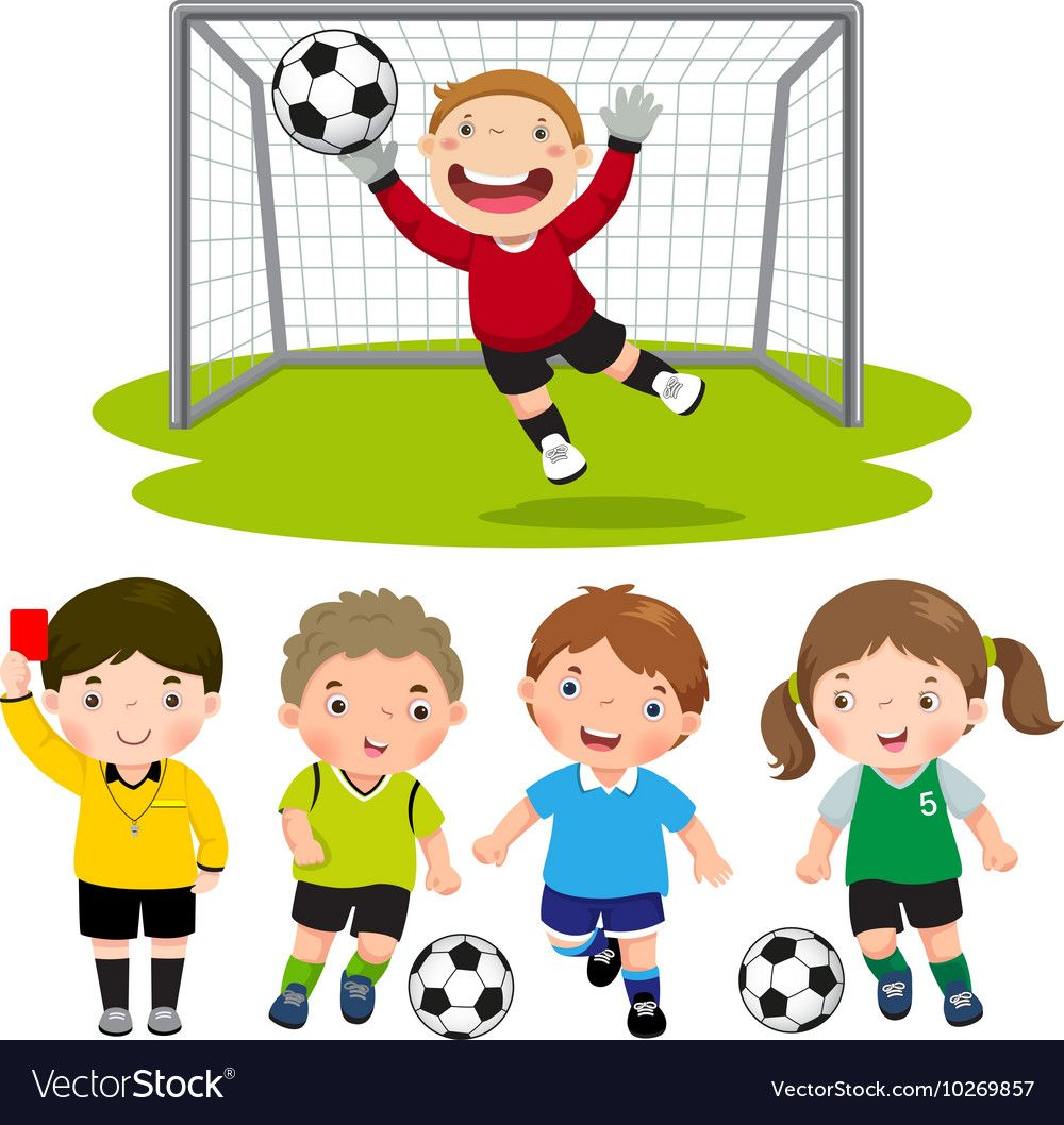 Set Of Cartoon Soccer Kids With Different Pose Vector Image On Vectorstock Kids Soccer Cartoon Kids Soccer Art