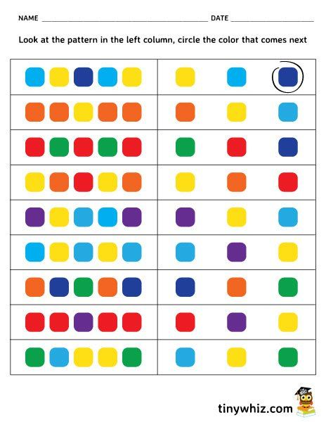 Free Printable Color Pattern Worksheet For Kindergarten
