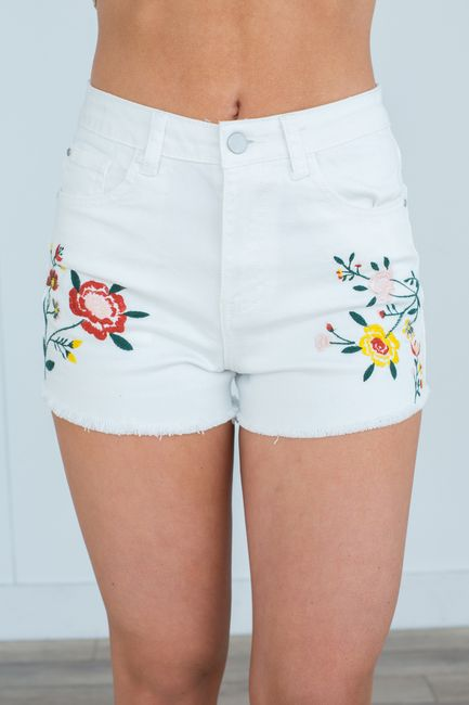 d47075be80 Shop our Floral Embroidered Denim Shorts in White. 3