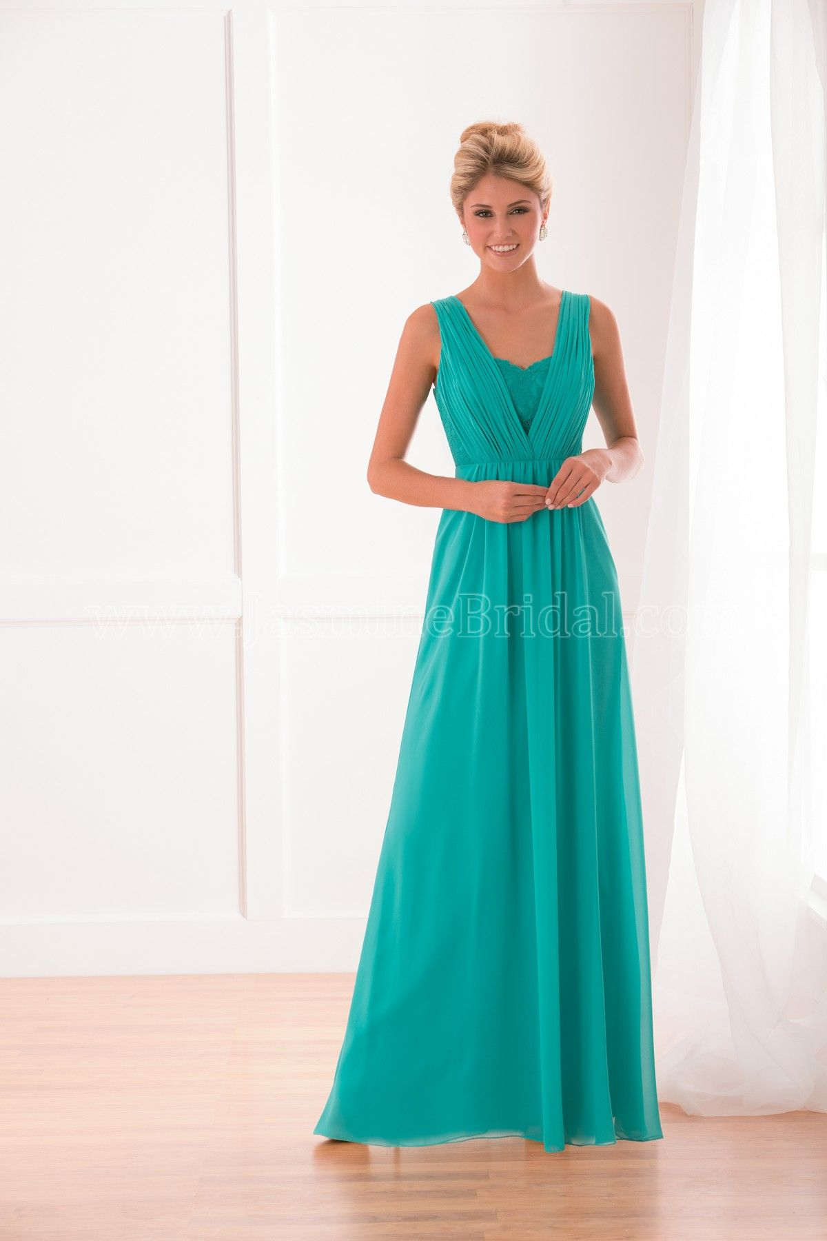 B173021 by B2: This Chiffon bridesmaids gown features a v-neckline ...