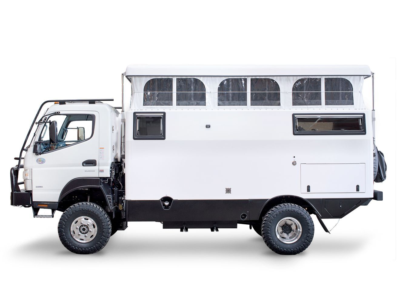 Off-road camper fits in a shipping container for overseas