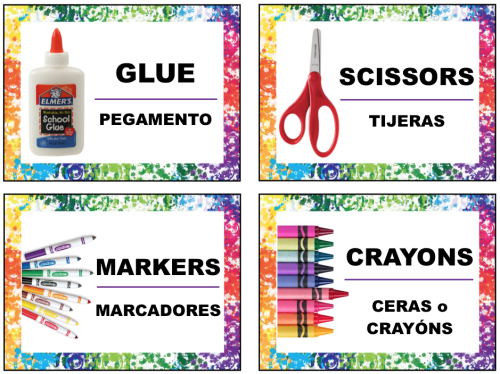 Free supply labels in english and spanish for art supplies for Room labels