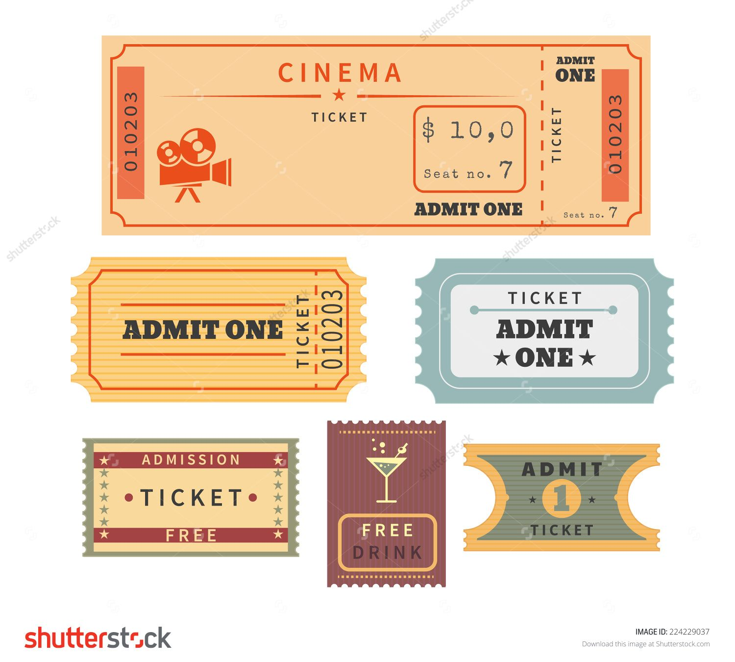Retro tickets set. Temlate vector illustration for cinema and other ...