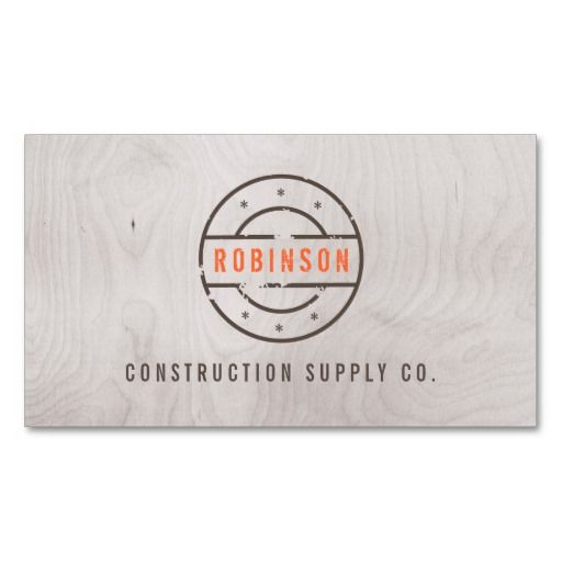 Rustic Stamped Logo on Gray Woodgrain Construction Business Card - fresh blueprint builders seattle