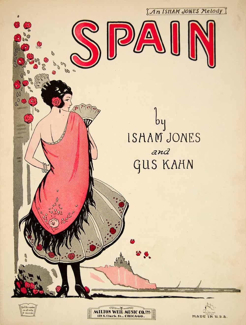 1924 Sheet Music Spain Isham Jones Gus Kahn Spanish Dancer