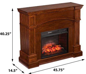 Lantana Infrared Wall Corner Electric Fireplace Mantel Package In Saddle Oak Fi9625