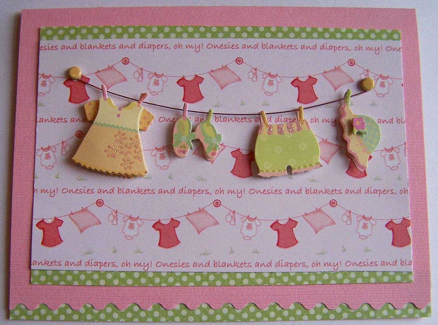 Baby girl congratulations card for baby shower parents