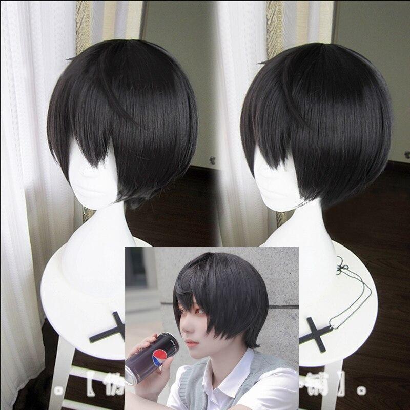 Ensemble Stars Sakuma Ritsu Short Black Cosplay Wig Halloween Party Heat Resistant Hair Cosplay Costume Wigs Free Wig Cap En 2020