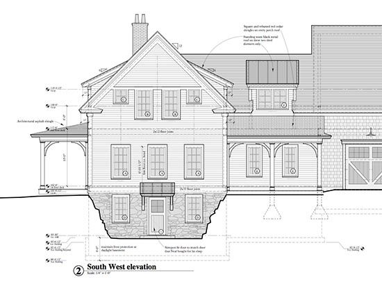Partial Elevation Drawing Of Farmhouse With Partial Basement Architecture Details Modern Farmhouse Plans Layout Architecture