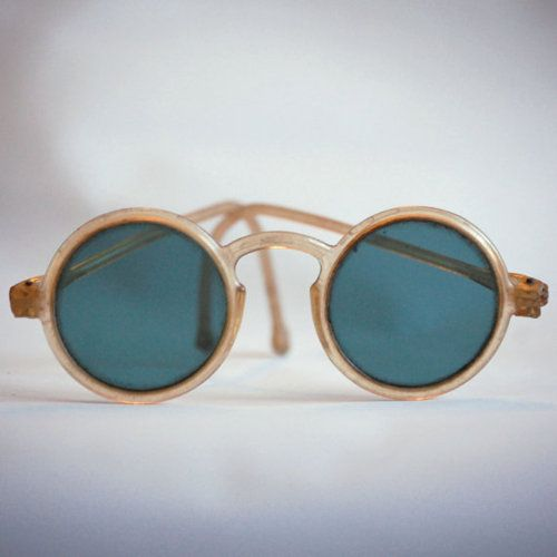 Round Antique Sunglasses with Translucent Plastic Frames, Vintage 1930s