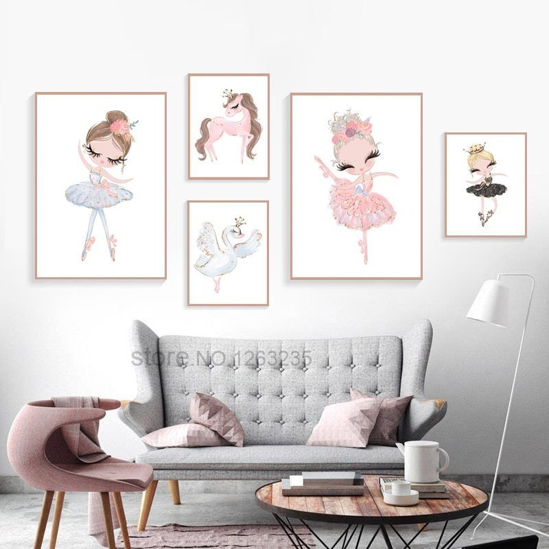 Nordic Art Dancing Girl Canvas Print Painting Home Wall Poster Decor Unframed He
