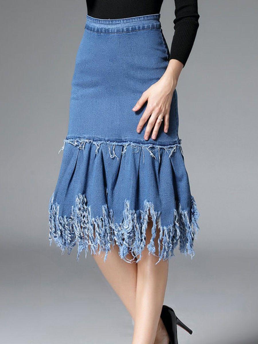 7f587dfece Distressed Denim Ruffled Hem Plain Midi Skirt