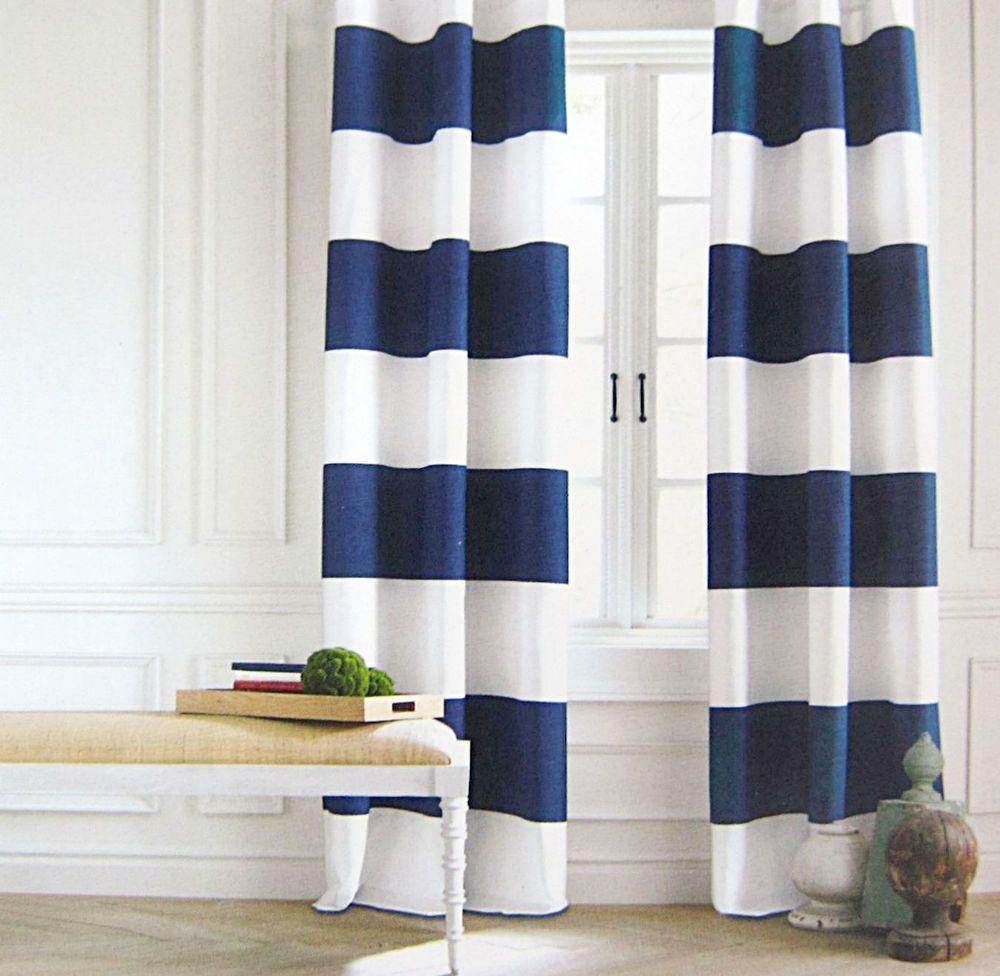 Tommy Hilfiger Navy Blue White Cabana Stripe Window Curtain Panels
