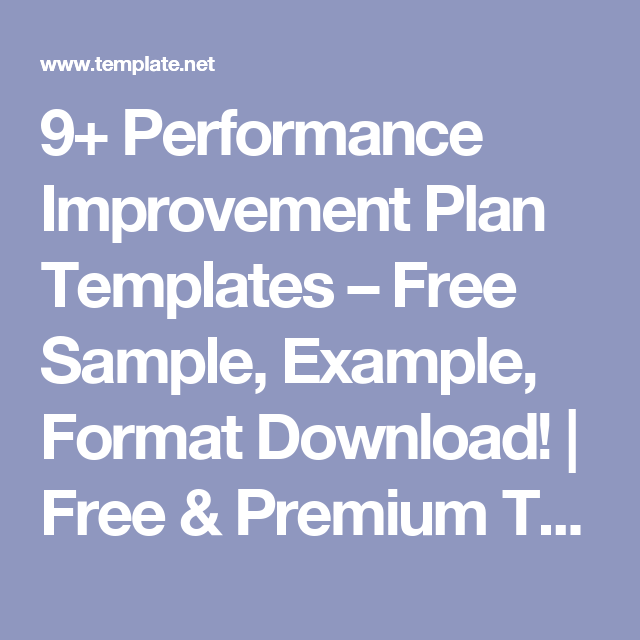 Performance Improvement Plan Templates  Free Sample Example