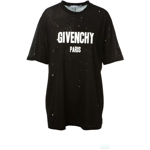 1c5fa160224 Givenchy Printed Cotton T-Shirt With Holes ( 550) ❤ liked on Polyvore  featuring tops