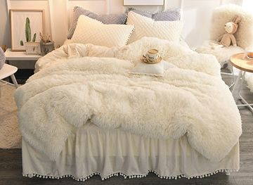 Vivilinen Solid White Simple Style Quilting Bed Skirt 4 Piece Fluffy Bedding Sets Duvet Cover Fluffy Bedding Girls Comforter Sets White Bed Set