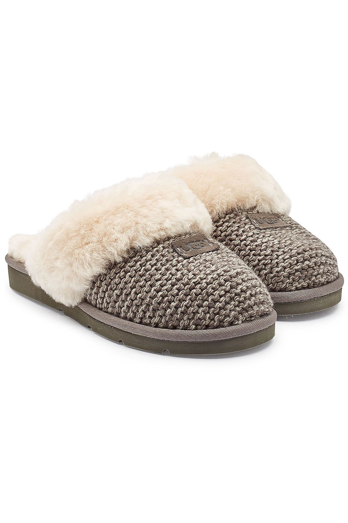 83e2dc573d8 Ugg - Cozy Knit Cable Slippers with Sheepskin on STYLEBOP.com