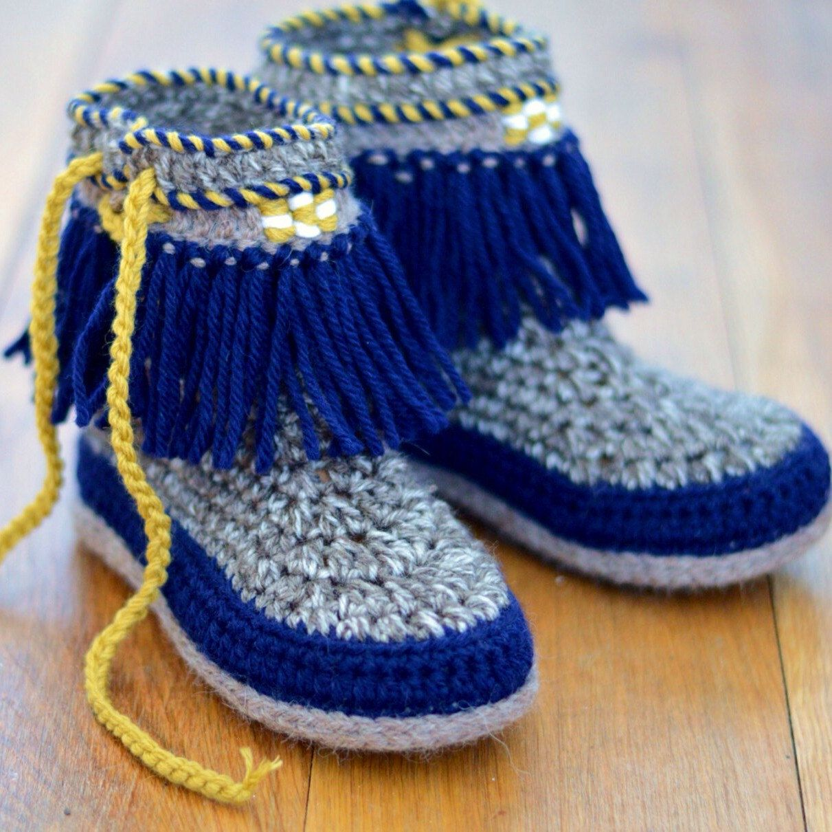 Crochet pattern slippers for children moccasin fringe boots kids moccasin fringe slipper boots crochet pattern with toddler and kids sizes adults bankloansurffo Choice Image