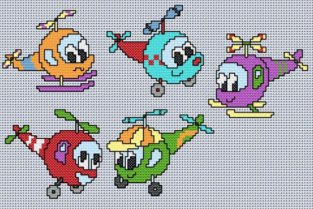 Fun Helicopters (Cross-stitch chart) avión y barco Pinterest