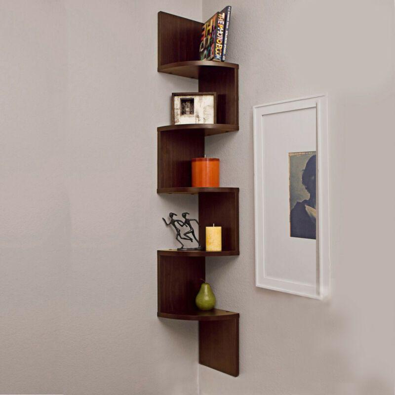 5 Tier Corner Shelf Wall Mount Zig Zag Storage Rack Shelves Floating Display New Bookshelves Diy Shelves Wall Shelves