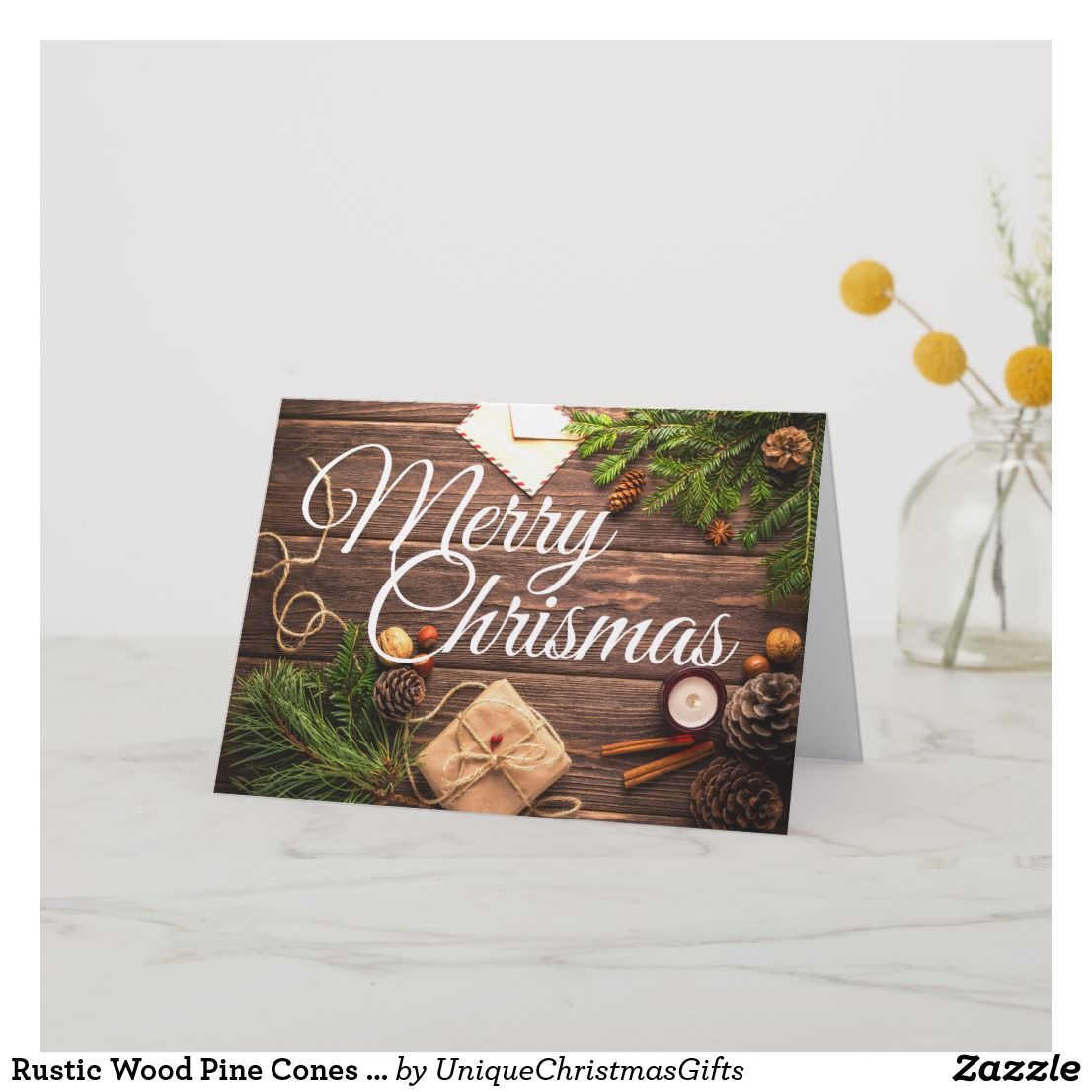 Rustic Wood Pine Cones Merry Christmas Card Folded Greeting Card