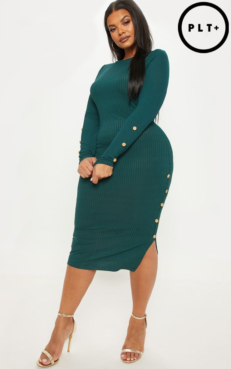 Plus Emerald Green Ribbed Tortoise Button Detail Midi Dress Plus Size Outfits Plus Size Fashion Size Fashion [ 1180 x 740 Pixel ]