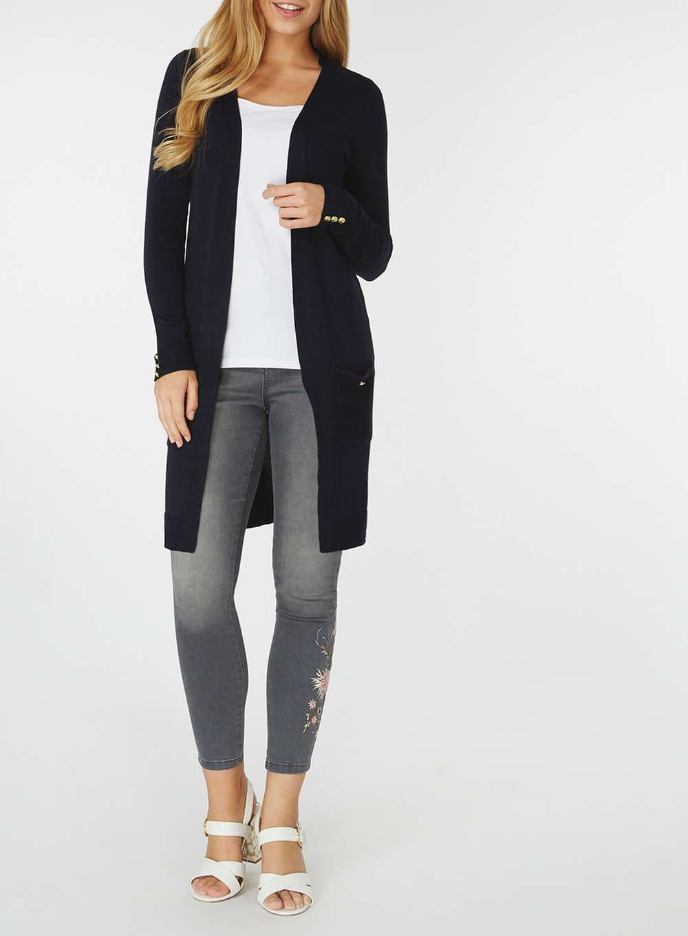Navy Longline Cardigan | Longline cardigan and Products