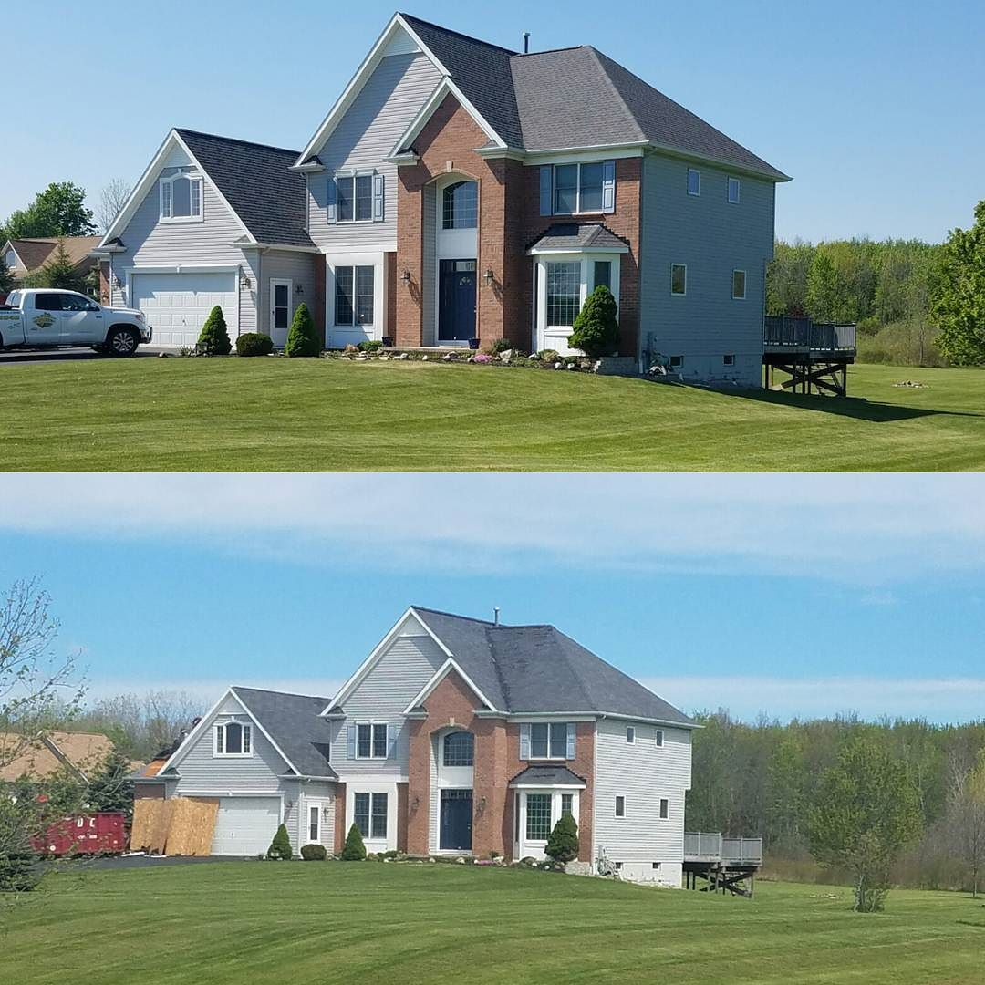 Before After Another Gaf Lifetime Roofing System Installed On This Churchville Home Gaf Timberline Hd Williamsburg Slate Trinity Homes Roofing Roofing Systems