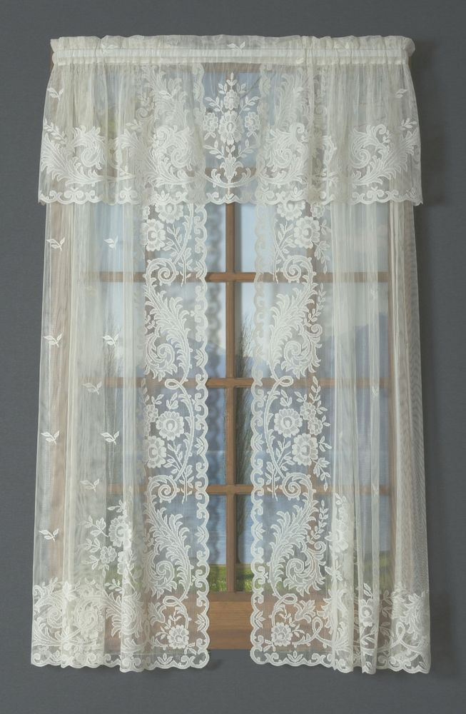 irish point lace tailored curtain pair