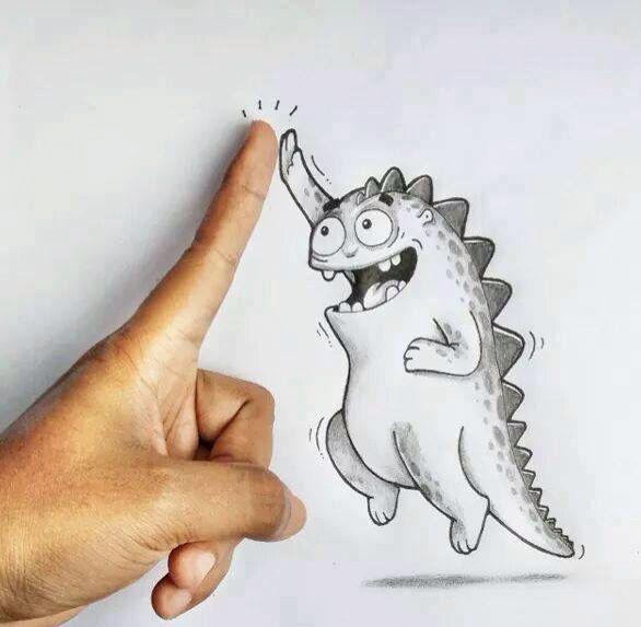 High Five Arte De La Pluma Dibujos Divertidos Dibujos Graciosos