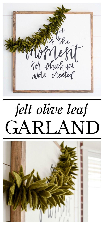 Felt Olive Leaf Garland Littleredbrickhouse Com Felt Diy Leaf Garland Crafts