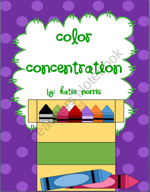Color Concentration from Teaching Resources by Katie Norris on  TeachersNotebook.com (14 pages)