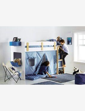 Rideau cabane pour lit mezzanine mi-hauteur Everest - bleu / imprimé ...