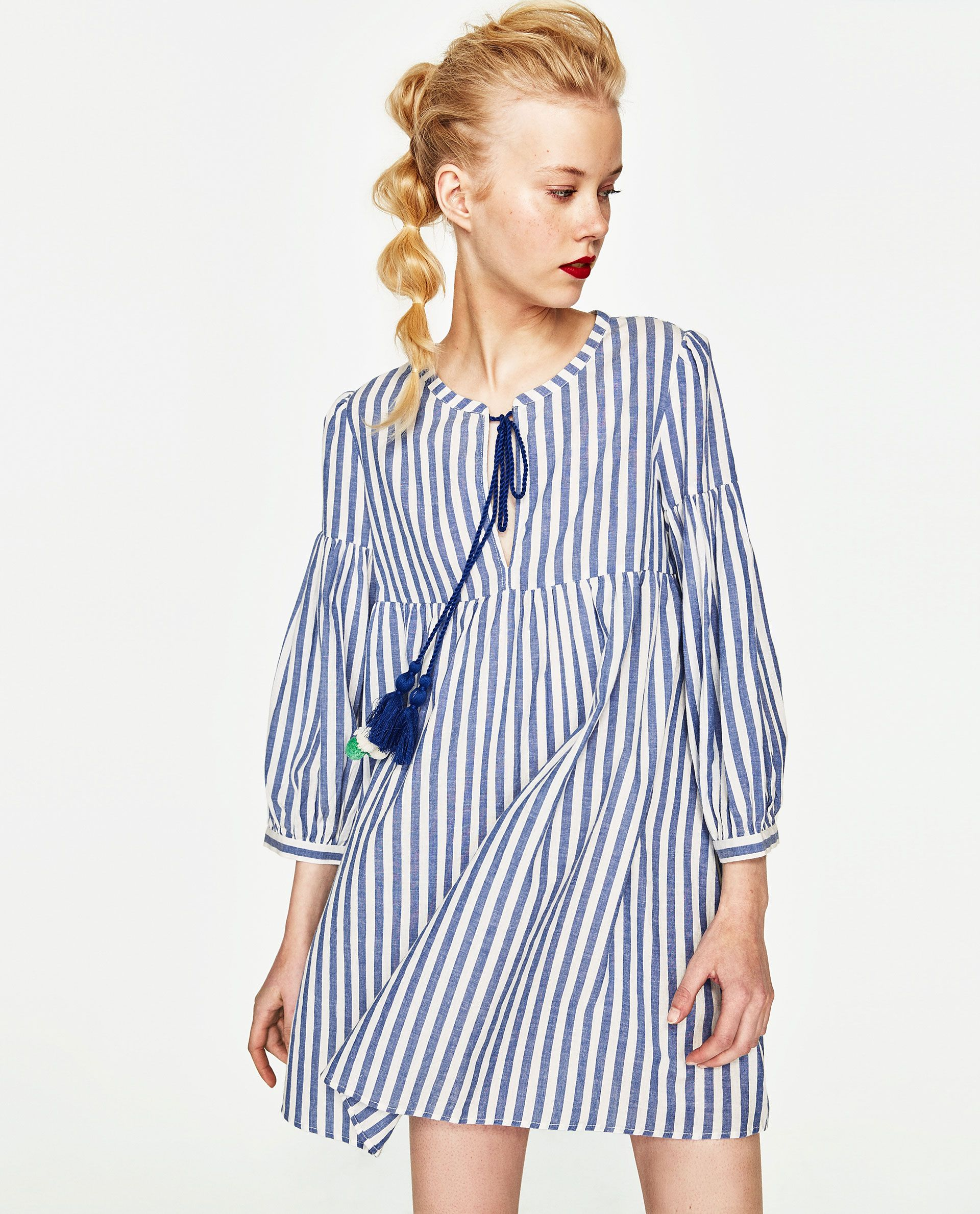 274b0d8d Image 2 of STRIPED DRESS WITH POMPOMS from Zara | clothes i covet ...