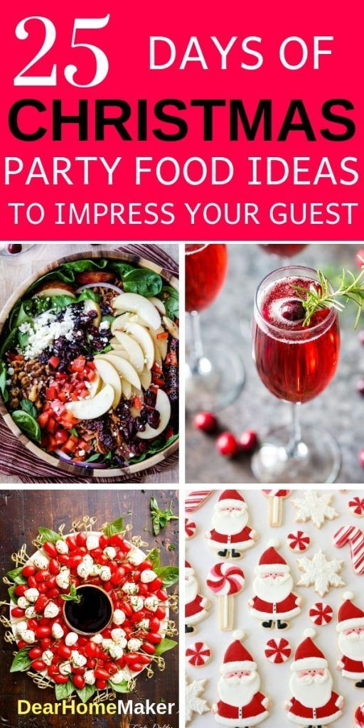 25 Christmas party food to rock your party. 5 delicious dinner recipes, 5 refreshing salads recipes, 5 spectacular desert ideas, 5 mouthwatering party appetizers and 5 colorful drinks. #Christmas #Christmasfood #Christamspartyfood, #Christmasdinner #christmassalads #Christmasappetizers, #christmasdrinks #Christmasfood #Drinks